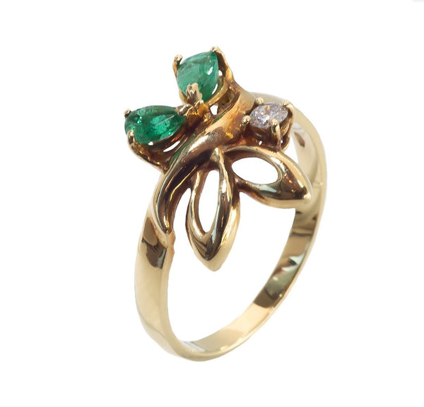 emerald and diamond butterfly ring