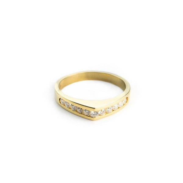 Ring woman ring in 18ct 750 yellow gold with diamonds 0,35ct G VVS