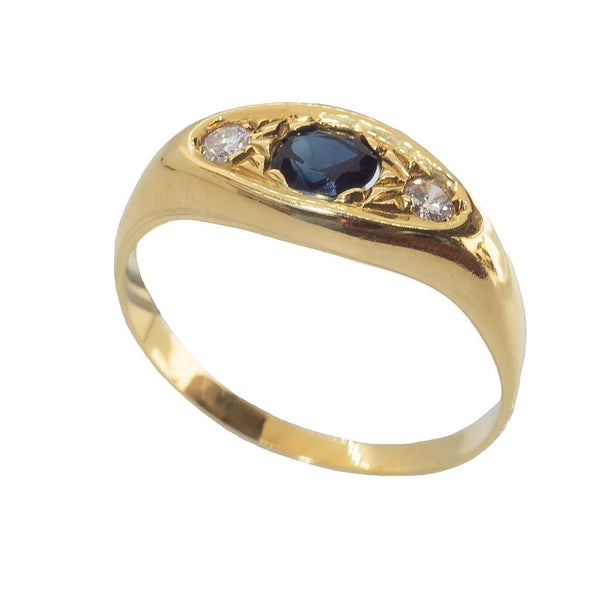 18 kt 750 gold men's ring with side diamonds and central sapphire