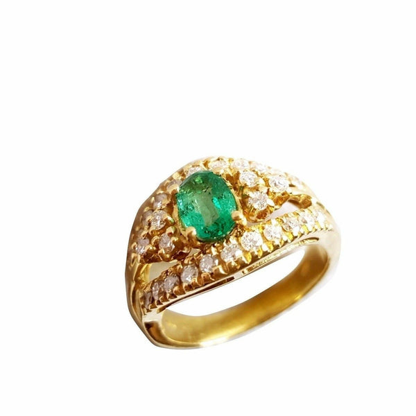 18kt yellow gold woman ring 750 with emerald and diamond outline
