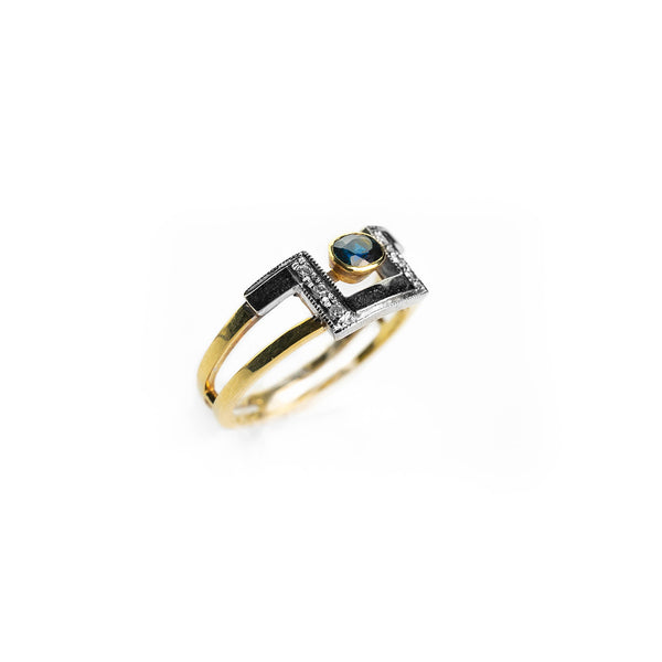 18kt 750/000 gold band woman ring with 0,35ct sapphire and 0,03ct diamonds - TOP !!!