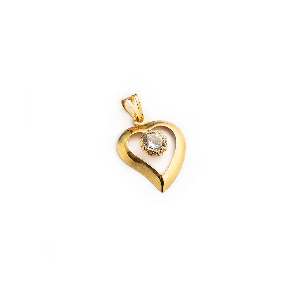 Woman heart pendant in 18kt yellow gold 750/000 with central white zircon