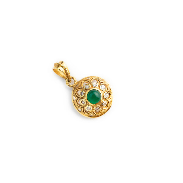 Charm pendant woman 18kt yellow gold 750 with green jade and zircons, 18kt gold pendant for necklace