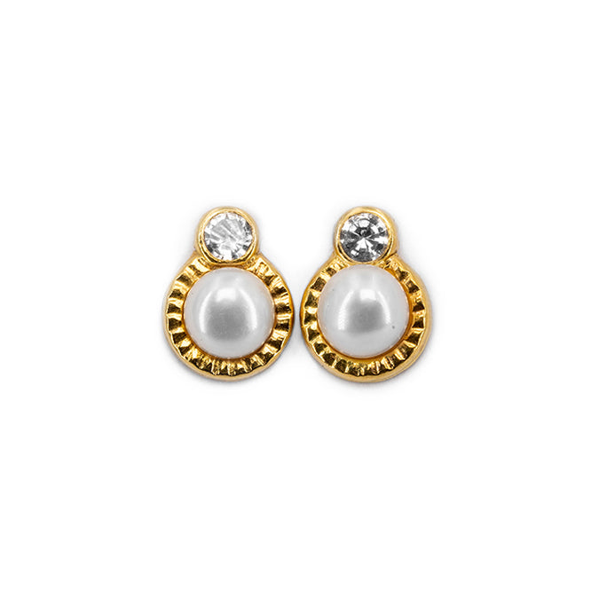 18kt 750 yellow gold woman girl lobe earrings with 7mm freshwater cultured pearl and zircon