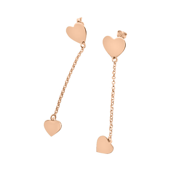 pink 925 silver heart earrings