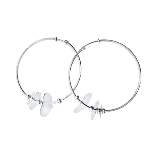 circles earrings with hearts in 925 silver