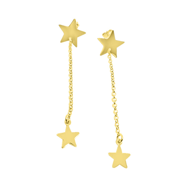 Pendant earrings woman girl with stars in gilded 925 silver