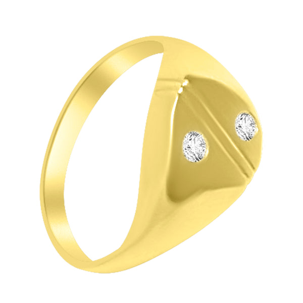 18kt 750 yellow gold ring with 0.08ct hi diamonds vs man boy chevalier model