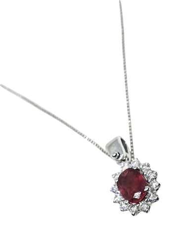 18K 750 Gold Necklace with 0,45ct Ruby and Diamonds 0,18ct f vvs