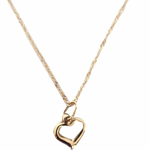 Necklace and Heart Pendant in Yellow Gold 18kt 750 / 000