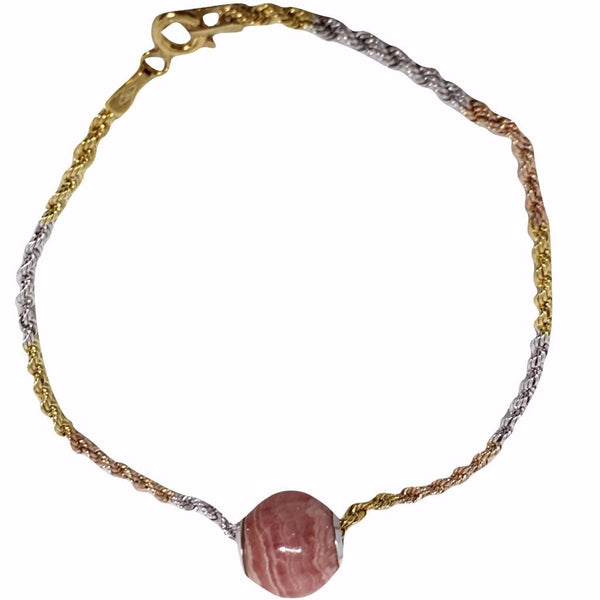 Woman's Yellow Gold Bracelet 18ct 750 / 000 with Rhodochrosite Charm