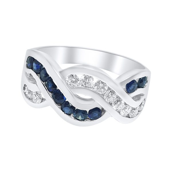 18k 750 white gold women's band ring with 0,40ct diamonds and 0,40ct sapphires