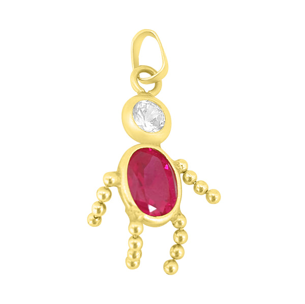 Baby-shaped pendant in 18kt 750 yellow gold with white and red zircon