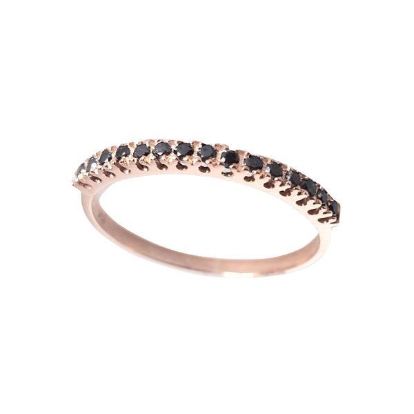 18kt 750 rose gold ring and black 0.08ct diamonds