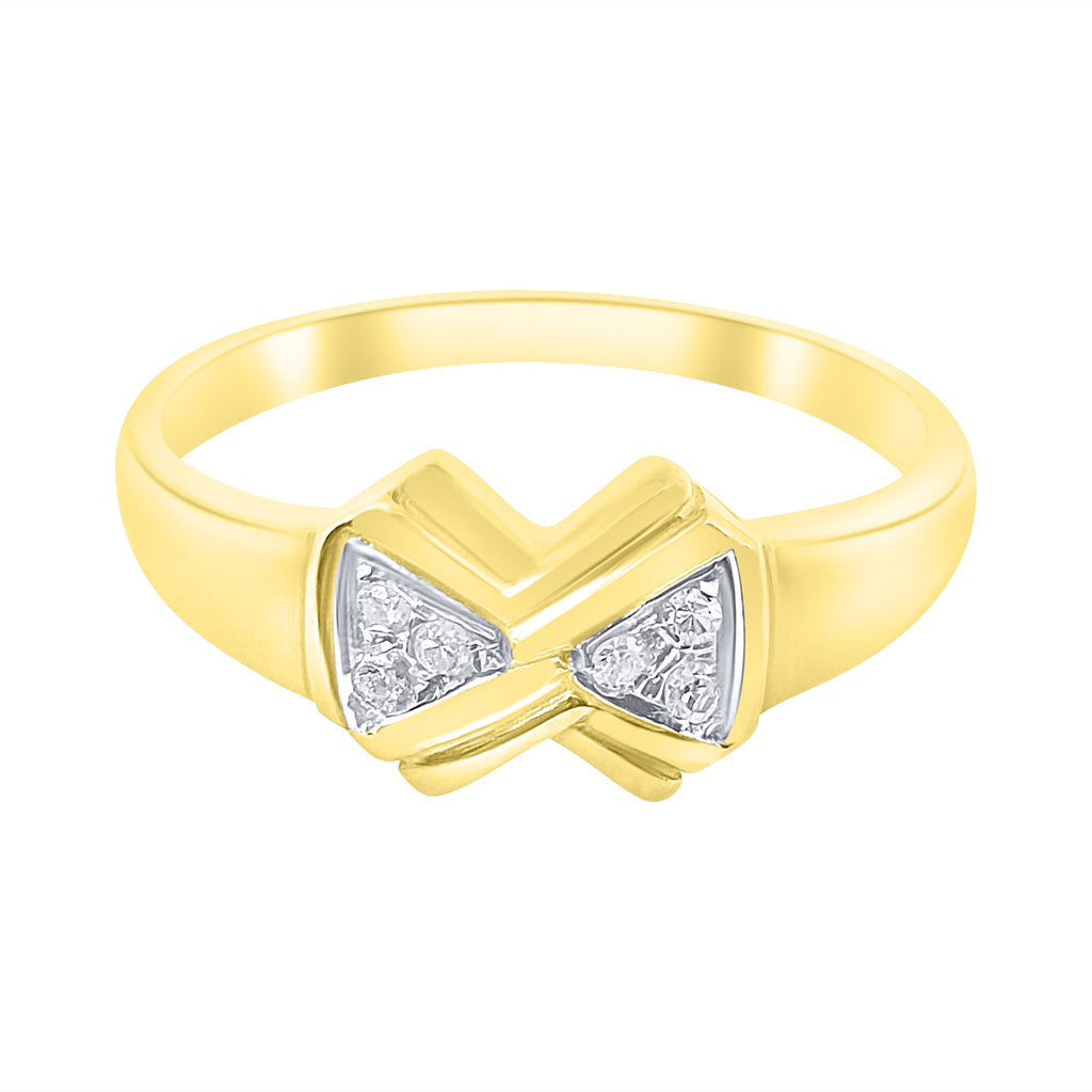 Woman ring bow in 18ct 750 yellow gold with diamonds 0,06ct G VVS
