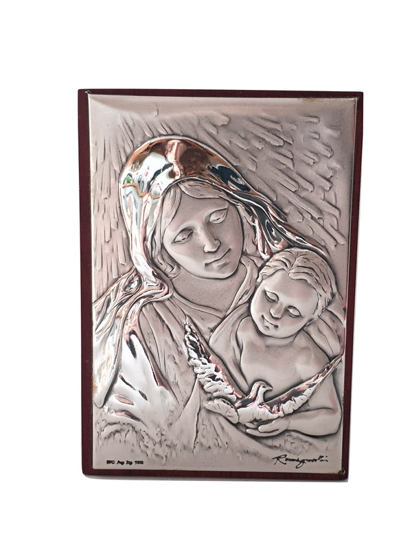 Picture Icon Holy Madonna with Child Wood and Silver 925 8,5cm x 7,5cm