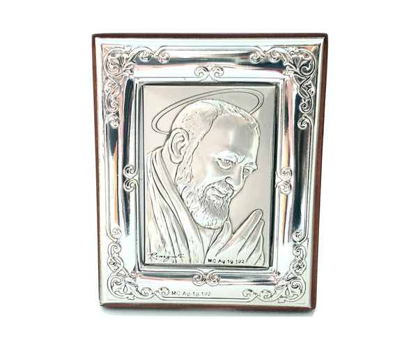Framework Sacred Icon Padre Pio Wood and Silver 925 table and wall 7,0cm x 5,5cm