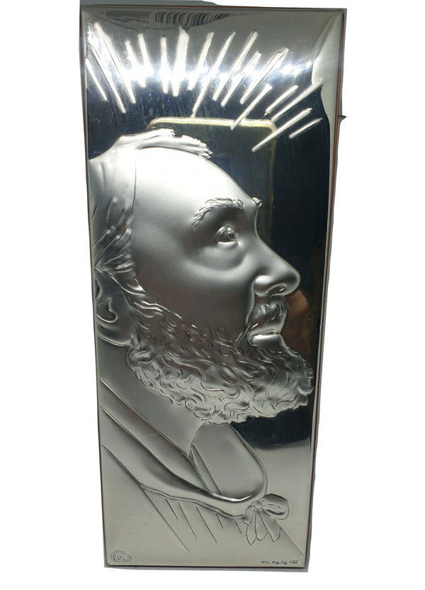 Framework Sacred Icon Padre Pio Wood and Silver 925 table and wall 16,5cm x 6,5cm