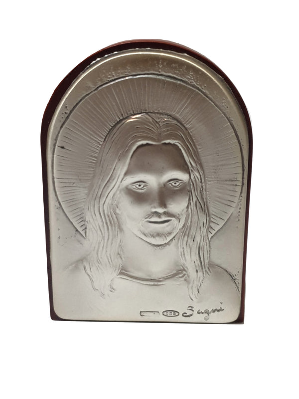 Jesus Sacred Icon Wood and Silver 925 table and wall 7,0cm x 5,5cm