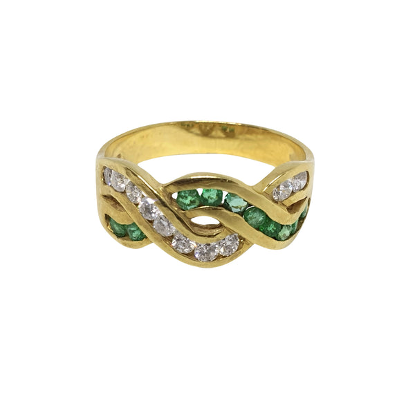 Women's Band Ring Yellow Gold 18k 750 with 0,35ct diamonds and 0,35ct emeralds