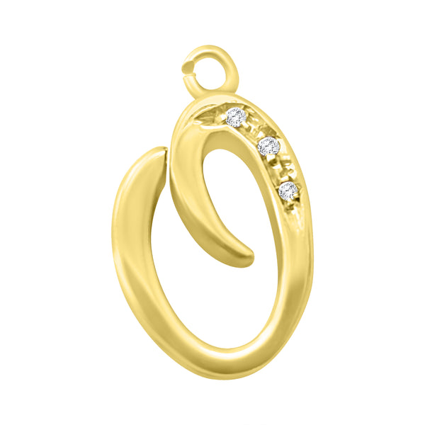 Initial letter O pendant in 18kt 750 yellow gold with diamonds 0,05ct h vvs for man and woman