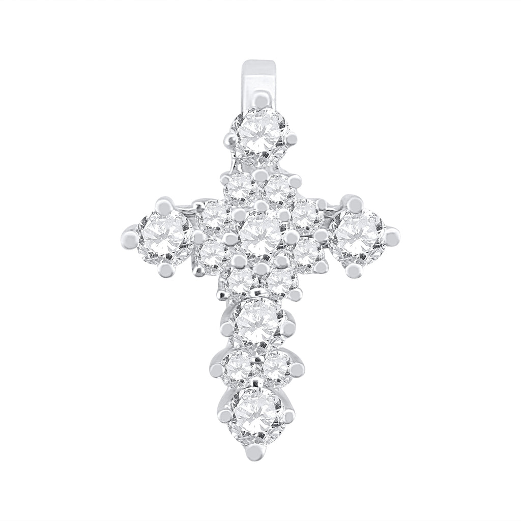 18kt 750 white gold woman cross with diamonds