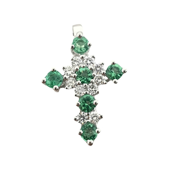 Cross pendant woman white gold 18kt 0,15ct diamonds f vvs and 0,28ct emeralds | Women's gift