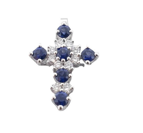 Cross pendant woman white gold 18kt 0,15ct diamonds f vvs and 0,28ct sapphires | Women's gift