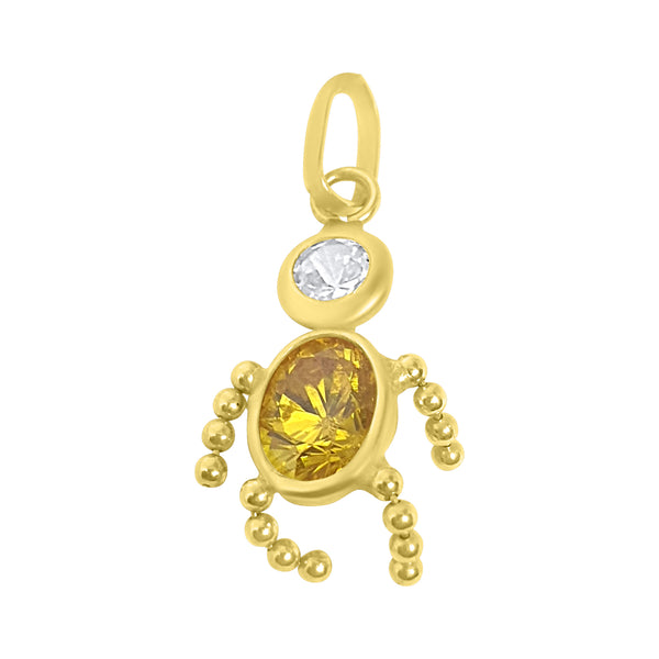 Baby-shaped pendant in 18kt 750 yellow gold with white and yellow zircon