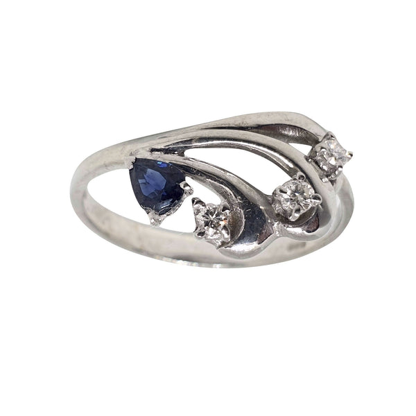 18 kt 750 white gold woman ring with 0.20 ct sapphire and 0.12 ct diamonds