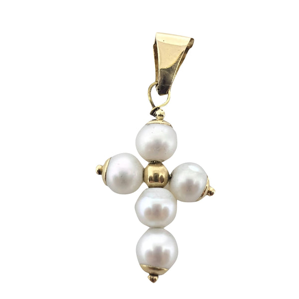 Woman cross pendant in 18 kt 750 gold and 3 mm freshwater cultured pearls