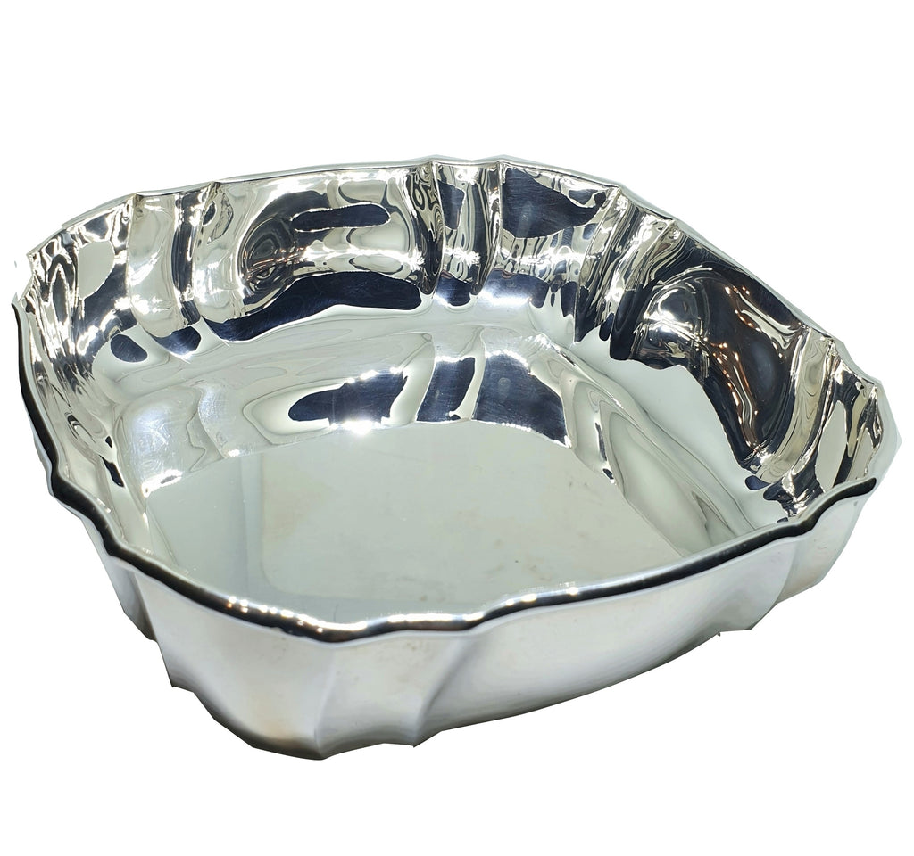 Centerpiece bowl in shiny 800 silver with special border 234gr wedding gift
