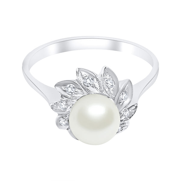 18kt 750 white gold woman ring with pearl