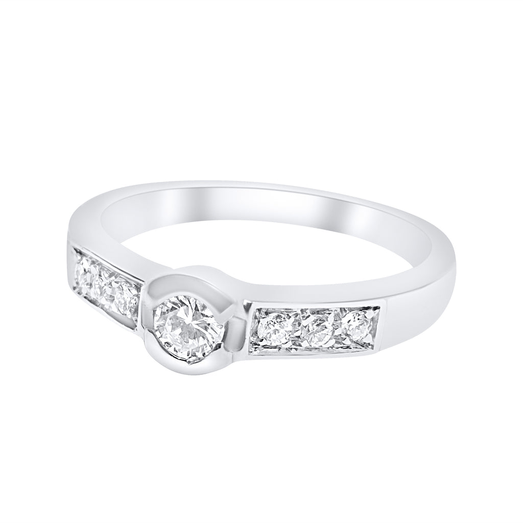 solitaire ring woman diamonds 18kt white gold 750