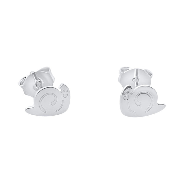 Snail shape girl earrings in 925 rhodium silver