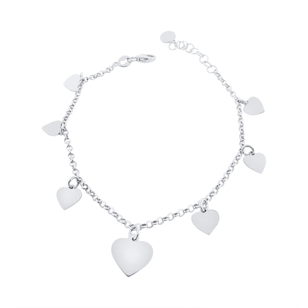 Rhodium-plated 925 silver woman girl bracelet with heart pendants