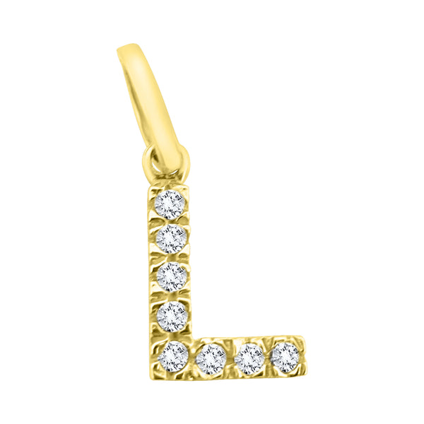 Man woman initial letter L pendant in 18kt 750/000 yellow gold with white zircons