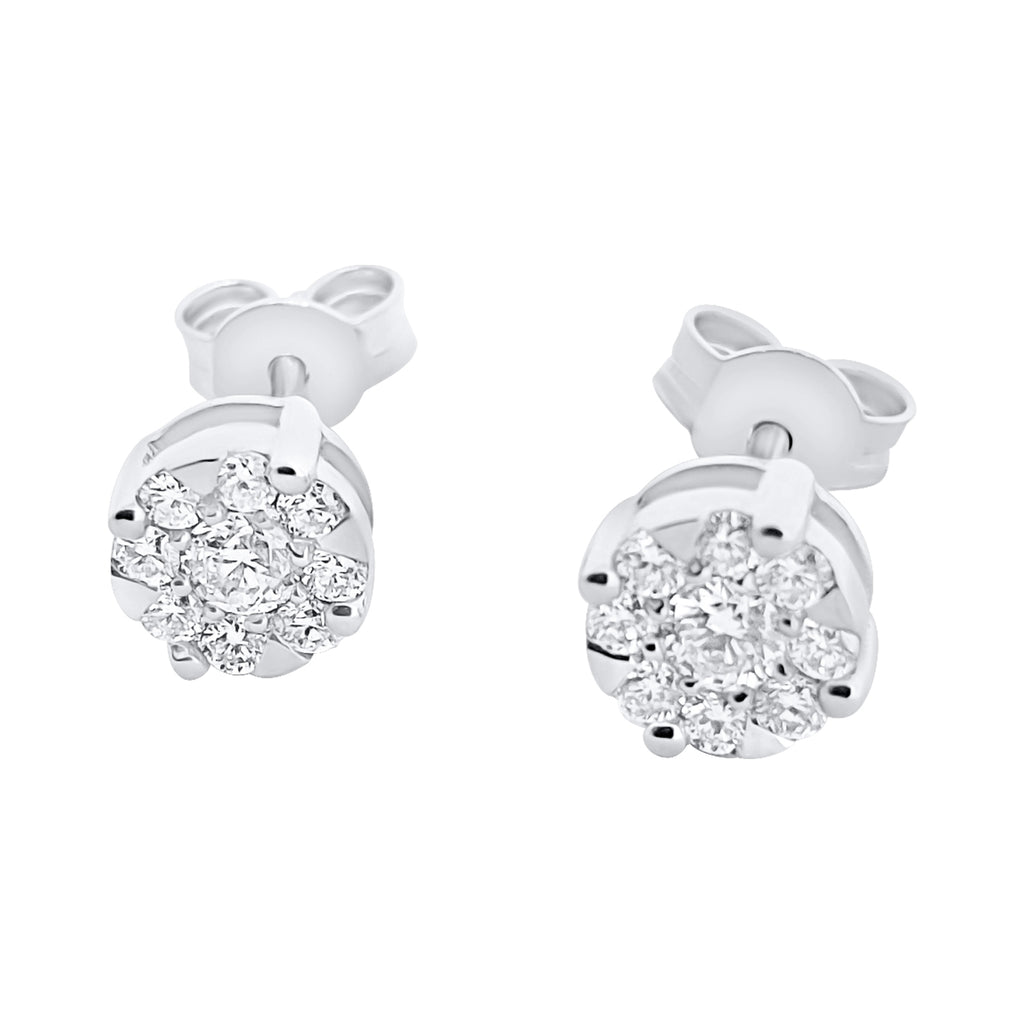 Magic Light Point Earrings in White Gold 18kt 750 with Diamonds 0,38 ct F VVS