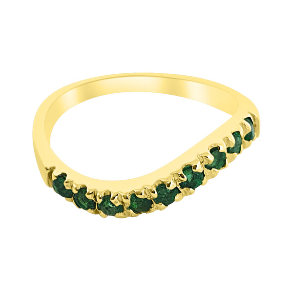 18kt 750 yellow gold woman ring with emeralds 0.30 ct super price