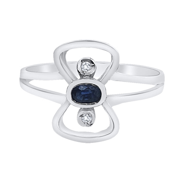 Woman ring in white gold 18kt 750 with 0.30ct sapphire and 0.01ct diamonds