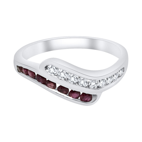 Ring woman ring in 18kt white gold 750 with rubies and diamonds