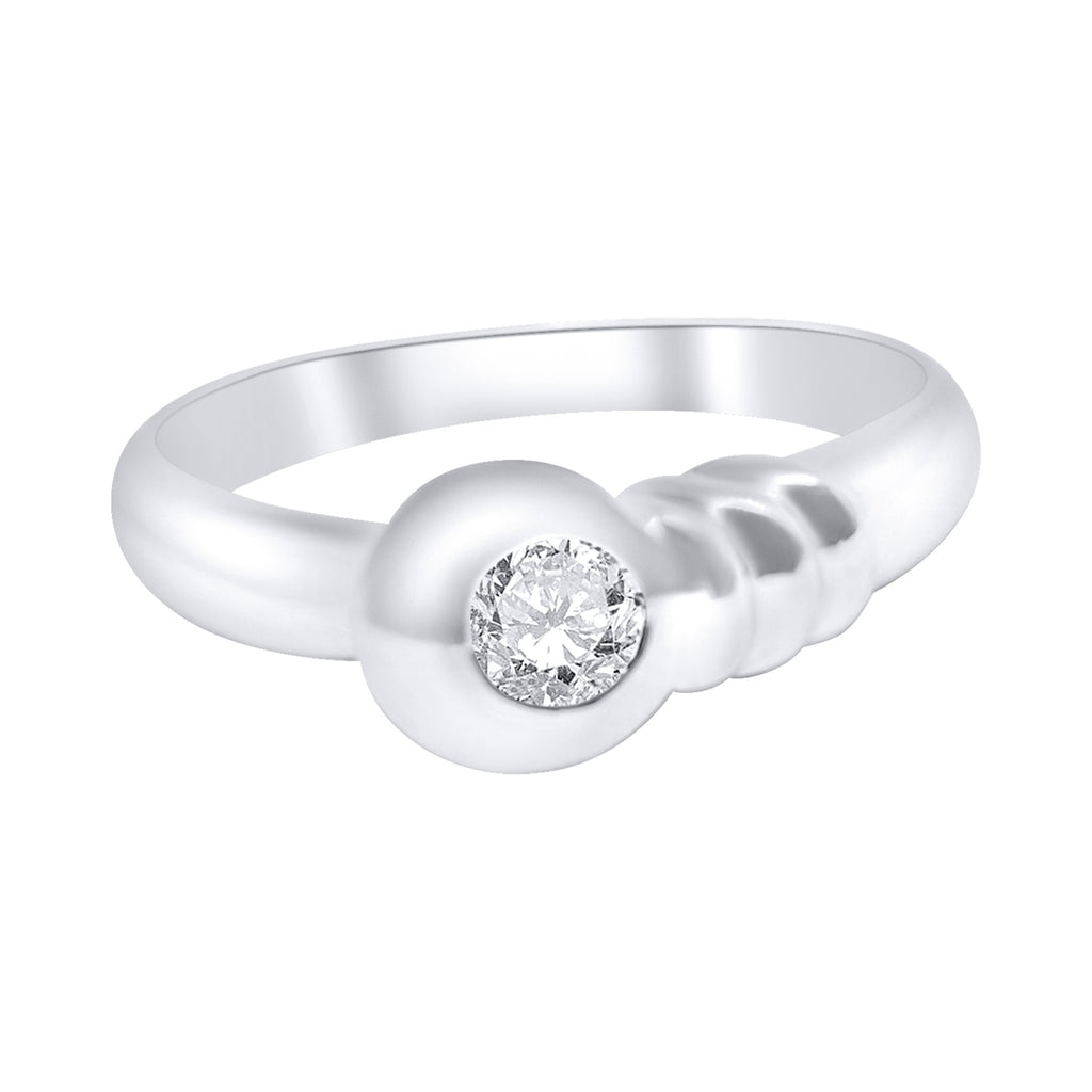 anello donna solitario fidanzamento oro bianco 18kt diamante 0,10ct g h vs