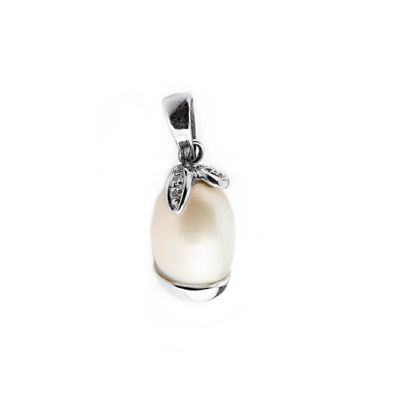 Woman pendant pendant pearl 18kt white gold 750 with 10-11 mm cultured pearl and 0.08ct diamonds