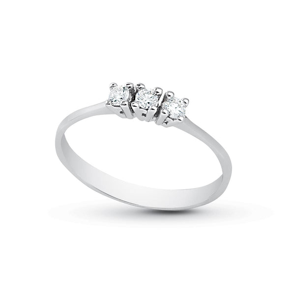 Anello Donna Promessa Fidanzamento Trilogy Oro 18kt 750 Diamanti Naturali 0,15CT F VS