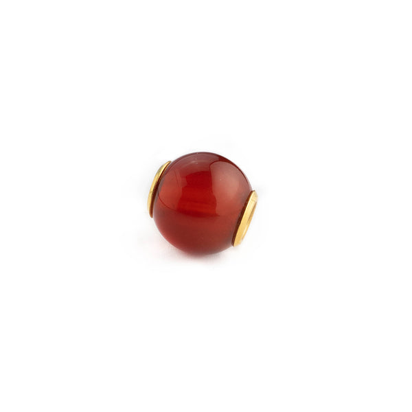 Carnelian charm pendant 12mm finished in 18kt 750 yellow gold