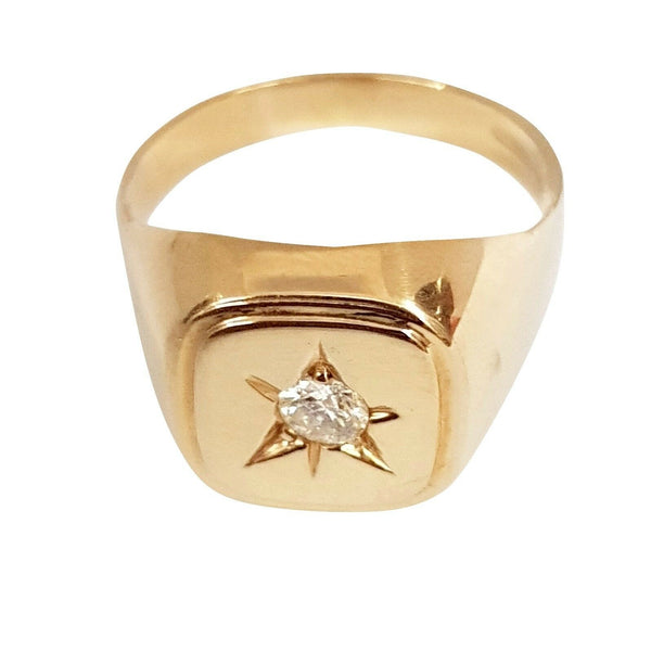 Ring man boy solitaire chevalier 18kt yellow gold 750 with diamond 0.12ct hi vs