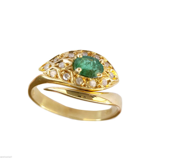 Woman Yellow Snake Ring 18kt 750 / 000 with Central Emerald and New Model Diamonds