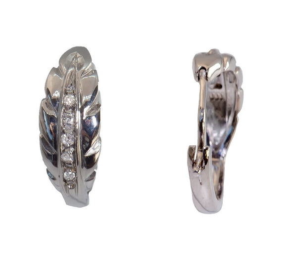 Woman's earrings in 18kt 750 white gold and 0,10ct Diamonds h vs