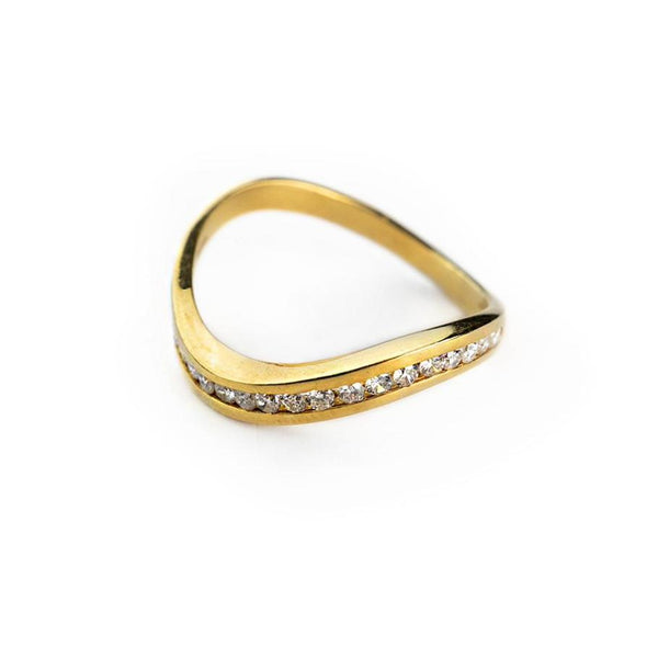 Anello donna veretta in oro giallo 18ct 750 con diamanti 0,35ct G  VVS