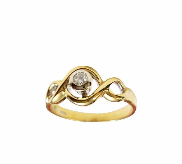 Woman Ring Engagement Promise Solitaire Yellow Gold 18kt 750 Diamond 0,10CT F VVS 4,00 GR